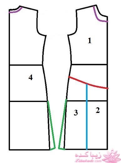 الگوی لباس پشت باز آموزش دوخت مانتو طرح یقه رو طبق مدل صفحه 181 - زیباکده